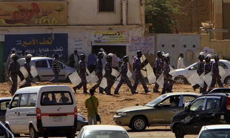 Heavily armed police patrol Khartoum's main streets January 30, 2011. REUTERS/Stringer