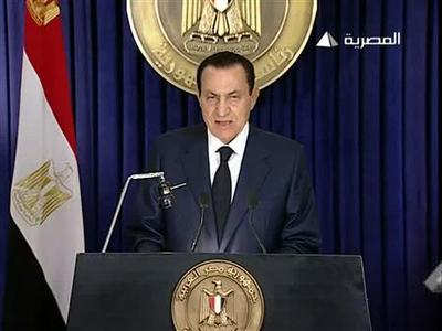 Egypt's President Hosni Mubarak addresses the nation on Egyptian State TV in this still image taken from video, February 1, 2011. REUTERS/Egyptian State TV