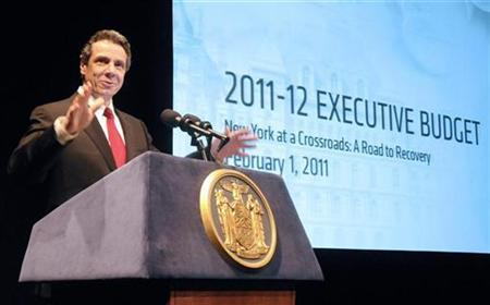 New York Governor Andrew Cuomo presents his 2011-12 budget proposal in Albany, February 1, 2011. REUTERS/Hans Pennink