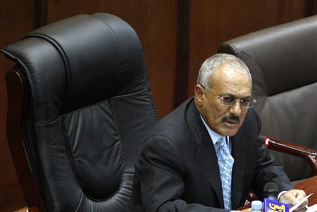 Yemeni President Ali Abdullah Saleh addresses the parliament in Sanaa February 2, 2011. REUTERS/Khaled Abdullah