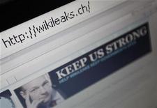 <p>Foto de archivo del sitio web WikiLeaks visto desde un ordenador en Berna, Suiza, dic 4 2010. La página web WikiLeaks es uno de los candidatos al premio Nobel de la Paz 2011, dijo el miércoles un político noruego que está detrás de la propuesta, un día después de que expirara el plazo de presentación de candidaturas. REUTERS/Pascal Lauener</p>