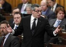 <p>Canada Minister of Industry Tony Clement speaks during Question Period in the House of Commons on Parliament Hill in Ottawa February 2, 2011. REUTERS/Blair Gable</p>