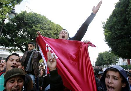 Tunisian students shout slogans during a demonstration in Tunis February 1, 2011. REUTERS/Louafi Larbi