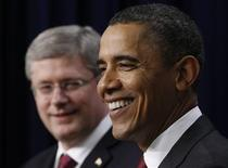 <p>U.S. President Barack Obama (R) and Canadian Prime Minister Stephen Harper attend a joint news conference in the Eisenhower Executive Office Building in Washington, February 4, 2011. REUTERS/Jim Young</p>