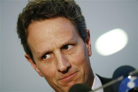 U.S. Treasury Secretary Timothy Geithner talks with journalists after a meeting with Brazilian President Dilma Rousseff in Brasilia, February 7, 2011. REUTERS/Uselei Marcelino