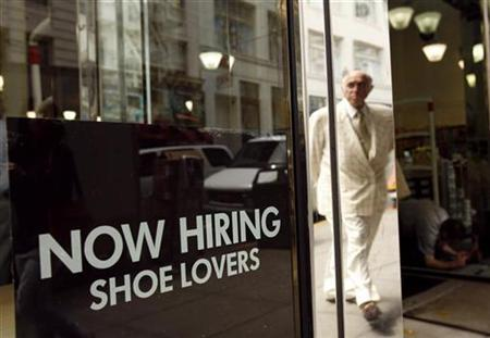 A sign in the window of a retail shoe store advertises for jobs in San Francisco, June 3, 2010. REUTERS/Robert Galbraith