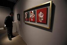 "<p>Artist Francis Bacon's oil on canvas ""Studies for a Portrait of Lucian Freud"" is seen at Sotheby's before its preview exhibition of highlights from its upcoming London sale of Impressionist Modern and Contemporary art in New York January 10, 2011. REUTERS/Shannon Stapleton</p>"