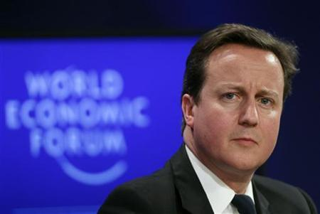 Britain's Prime Minister David Cameron attends a session at the World Economic Forum (WEF) in Davos, January 28, 2011. REUTERS/Vincent Kessler