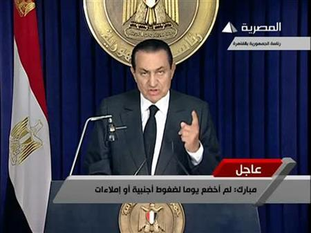 Hosni Mubarak addresses the nation in this still image taken from video February 10, 2011. REUTERS/Egyptian State TV via Reuters TV