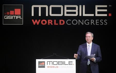 Google CEO Eric Schmidt delivers a speech at the GSMA Mobile World Congress in Barcelona February 15, 2011. REUTERS/Albert Gea
