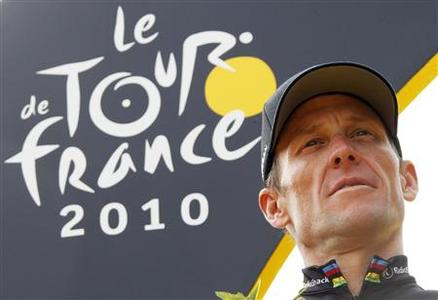 Radioshack team rider Lance Armstrong poses on the podium in Paris after the final 20th stage of the 97th Tour de France cycling race between Longjumeau and Paris in this July 25, 2010 file photo. REUTERS/Eric Gaillard/Files