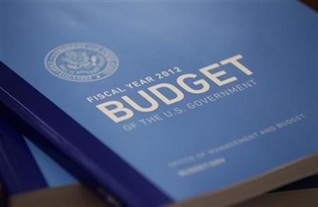 A copy of President Obama's 2012 budget is unveiled on Capitol Hill, February 14, 2011. REUTERS/Jason Reed