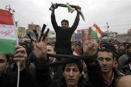 Iraqi Kurds protest to demand the ouster of the local government and better basic services in Sulaimaniya, 260 km (160 miles) northeast of Baghdad, February 22, 2011. REUTERS/Stringer