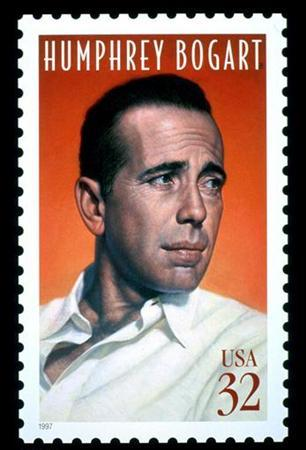 The United States postage stamp honouring actor Humphrey Bogart, which was issued during ceremonies July 31, 1997 at Mann's Chinese Theatre in Hollywood,California, is shown in this undated photograph. REUTERS/Ho New