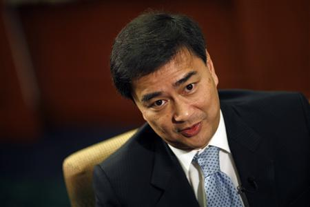 Thai Prime Minister Abhisit Vejjajiva answers questions during an interview with Reuters at the building of the country's parliament in Bangkok February 23, 2011. REUTERS/Damir Sagolj