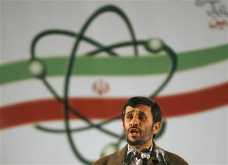 Iran's President Mahmoud Ahmadinejad speaks during a ceremony at the Natanz nuclear enrichment facility, 350 km (217 miles) south of Tehran, April 9, 2007. REUTERS/Caren Firouz (