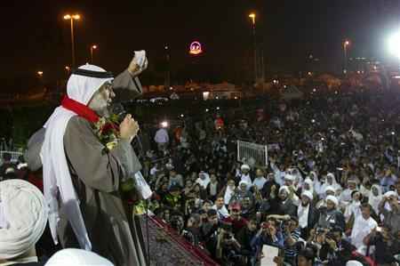 Bahraini Shi'ite opposition leader Hassan Mushaimaa speaks to supporters in Pearl Square in Manama February 26, 2011. REUTERS/Caren Firouz