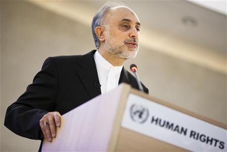 Iran's Foreign Minister Ali Akbar Salehi addresses the high level segment of the 16th session of the Human Rights Council at the United Nations European headquarters in Geneva, February 28, 2011. REUTERS/Valentin Flauraud