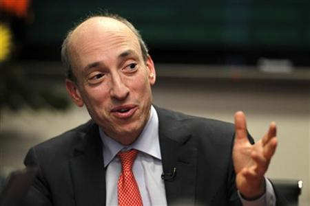 U.S. Commodity Futures Trading Commission (CFTC) Chairman Gary Gensler gestures as he speaks during Reuters Future Face of Finance Summit in Washington March 2, 2011. REUTERS/Hyungwon Kang