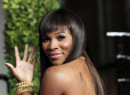 Serena Williams arrives at the 2011 Vanity Fair Oscar party in West Hollywood, February 27, 2011. REUTERS/Danny Moloshok