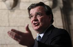 <p>Finance Minister Jim Flaherty speaks to journalists on Parliament Hill in Ottawa March 2, 2011. Flaherty announced the next federal budget will be presented on March 22. REUTERS/Chris Wattie</p>