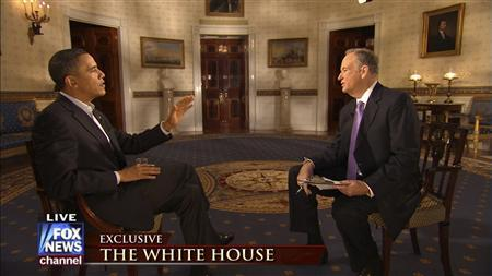 Fox News Channel's Bill O'Reilly (R) is shown interviewing U.S. President Barack Obama in this undated publicity photograph from Fox News Channel. Obama and the conservative TV host have teamed up to raise nearly $750,000 for U.S. military families. REUTERS/Fox News Channel/Handout