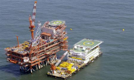Reliance Industries KG-D6's control and raiser platform is seen off the Bay of Bengal in this undated handout photo. REUTERS/Reliance Industries/Handout/Files