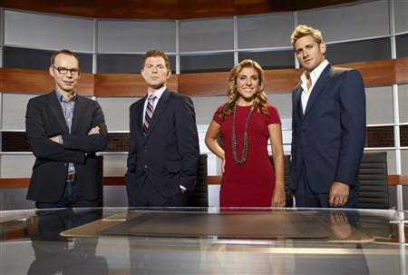 The hosts of the new NBC reality series ''America's Next Great Restaurant'' which premieres March 6, 2011 (L-R) Chipotle founder Steve Ells, chef Bobby Flay, Latina chef Lorena Garcia and ''Biggest Loser'' resident chef Curtis Stone are shown in this undated publicity photograph. They are putting up their own money to finance the concept they judge to have the best chance of commercial success. REUTERS/Mitchell Haaseth/NBC/ © NBC Universal, Inc./Handout