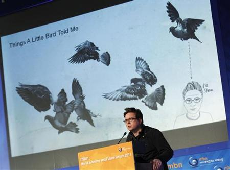 Twitter co-founder Biz Stone speaks at the ''World Economy and Future Forum'' hosted by broadcaster MBN in Seoul March 3, 2011. REUTERS/Lee Jae-Won