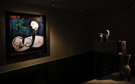 Pablo Picasso's 1932 'Nude, Green Leaves, and Bust' is seen at Christie's auction house in New York April 16, 2010. REUTERS/Shannon Stapleton