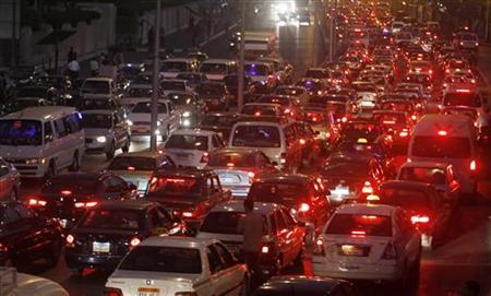 A general view of the traffic on a crowded road in Cairo October 26, 2010. REUTERS/Mohamed Abd El-Ghany