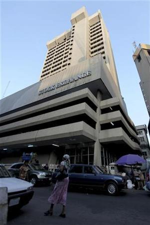 A view of the Nigerian Stock Exchange (NSE) on Kakawa street in the commercial capital of Lagos in this August 6, 2010 file photo. REUTERS/Akintunde Akinleye