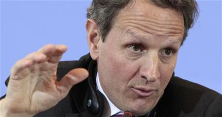 U.S. Treasury Secretary Timothy Geithner addresses a news conference after talks with German Finance Minister Wolfgang Schaeuble in Berlin, March 8, 2011. REUTERS/Tobias Schwarz