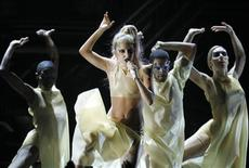 "<p>Lady Gaga (C) performs her new song ""Born This Way"" at the 53rd annual Grammy Awards in Los Angeles, California February 13, 2011. REUTERS/Lucy Nicholson</p>"