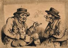 <p>Victorian pipe smokers in a drawing by S. Jenner circa 1850. REUTERS/Wellcome Library London</p>
