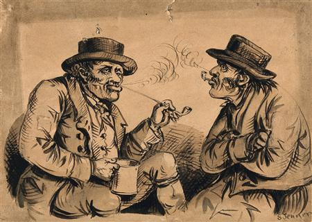 Victorian pipe smokers in a drawing by S. Jenner circa 1850. REUTERS/Wellcome Library London