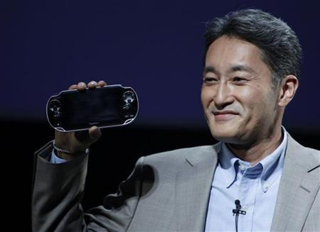 Sony Computer Entertainment President and Group CEO Kazuo Hirai unveils a new handheld gaming device codenamed ''NGP'' for Next Generation Portable during the company's strategy briefing event in Tokyo January 27, 2011. REUTERS/Kim Kyung-Hoon