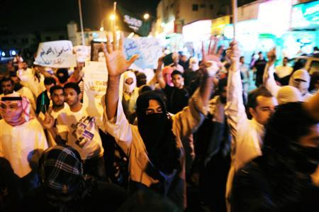 Protesters shout slogans during a demonstration demanding the release of prisoners they say are held without trial, in the Gulf coast town of Qatif, March 10, 2011. REUTERS/Stringer