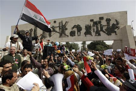 Protesters take part in a demonstration in central Baghdad March 11, 2011. REUTERS/Saad Shalash