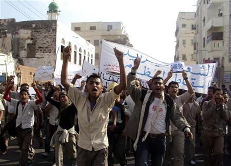 Anti-government protesters shout slogans during a demonstration to demand the ouster of Yemen's President Ali Abdullah Saleh in the southern city of al-Habileen March 10, 2011. REUTERS/Stringer