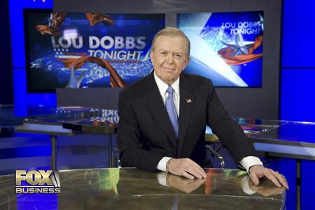 Former CNN anchor Lou Dobbs hosts ''Lou Dobbs Tonight'' on Fox Business Network in a promotional image. REUTERS/Fox Business Network