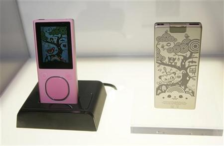 An engraved Zune Media Player is displayed during the Consumer Electronics Show (CES) in Las Vegas, Nevada January 8, 2008. REUTERS/Steve Marcus