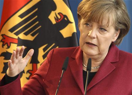 German Chancellor Angela Merkel makes a speech during a ceremony to mark the 60th anniversary of Germany's federal police Bundespolizei in Berlin, March 15, 2011. Reuters/Fabrizio Bensch