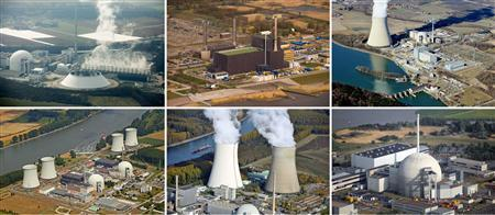 A combination of file pictures shows aerial views of the German nuclear power plants (top L to Bottom R) of Neckarwestheim, Brunsbuettel, Isar, Biblis A and B, Philippsburg and Unterweser. Germany will shut down all seven of its nuclear power plants that began operating before 1980 at least till June, the government said on March 15, 2011, leaving open whether they will ever start up again after Japan's crisis. REUTERS/Staff/File
