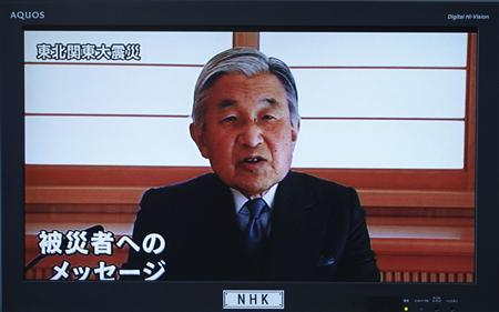 Japan's Emperor Akihito speaks during a televised address to the nation in Tokyo March 16, 2011. Japanese Emperor Akihito said on Wednesday problems at Japan's nuclear-power reactors were unpredictable and he was ''deeply worried'' following an earthquake he described as ''unprecedented in scale''. It was an extraordinarily rare appearance by the emperor and his first public comments since last week's devastating earthquake and tsunami that killed thousands of people. REUTERS/Michael Caronna