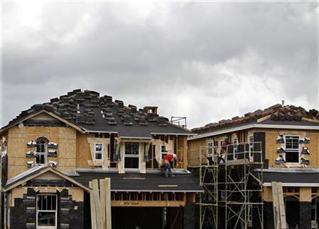 A construction worker works on one of a number of new single family homes in a subdivision outside San Diego as building returns to San Marcos, California March 8, 2010. REUTERS/Mike Blake