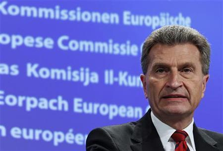 EU Energy Commissioner Guenther Oettinger holds a news conference after a meeting with nuclear experts from the European Union in Brussels, March 15, 2011, to coordinate EU policy in light of Japan's nuclear crisis. REUTERS/Yves Herman
