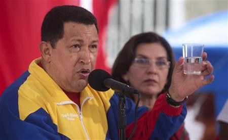 Venezuela's President Hugo Chavez attends an event to mark to World Water Day in Caracas March 22, 2011. REUTERS/Handout