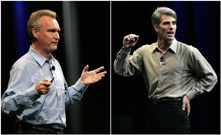 A combination of file photos shows Bertrand Serlet, senior vice president of OSX software at Apple Inc, (L) and Craig Federighi, vice president of Mac OS at Apple Inc (R) speaking at the Apple Inc's Worldwide Developers Conference in San Francisco on June 8, 2009. Apple Inc said one of its top software engineers, Serlet, would leave the company after more than a decade spent developing Apple's signature operating system. Federighi, currently the vice president of Mac Software Engineering, will assume Serlet's responsibilities and report to chief executive Steve Jobs, Apple said in a statement on March 23, 2011. Pictures taken June 8, 2009. REUTERS/Robert Galbraith/Files