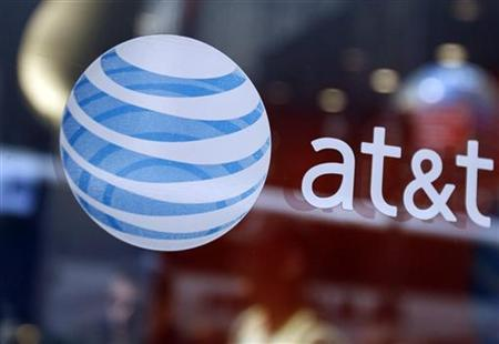 The at&t logo is seen at their store in Times Sqaure in New York April 21, 2010. REUTERS/Shannon Stapleton